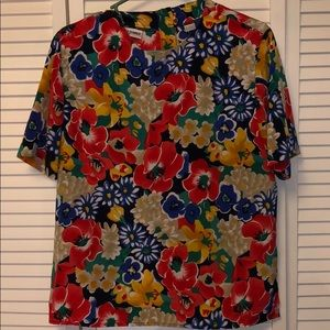 Vintage Alfred Dunner 12 floral red yellow blue